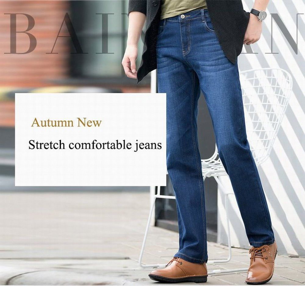 Baiyuan Trousers Slim Fit Denim Jeans Blue