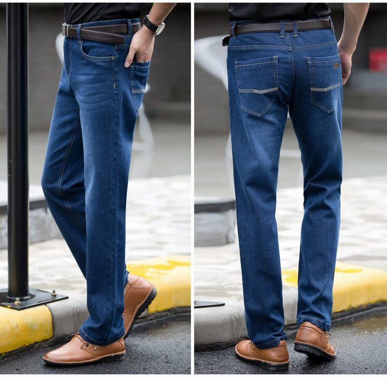 Straight Denim Mens Jeans Blue Zipper Fly
