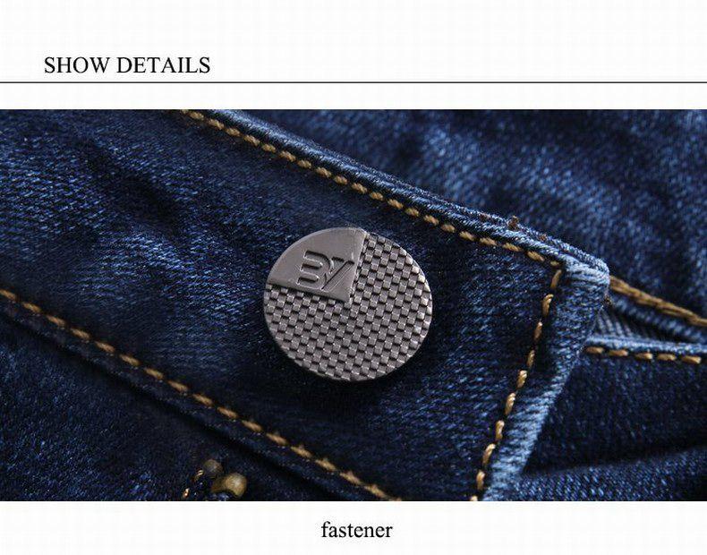 Straight Denim Mens Jeans Blue Zipper Fly