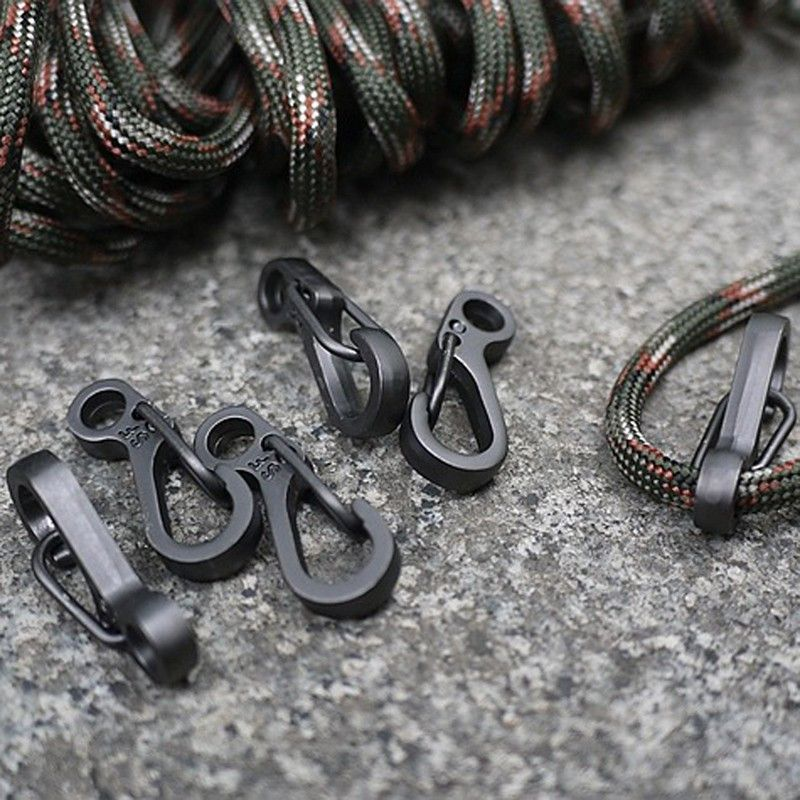 10PCS/SET Spring Buckle Snap Alloy Nickel-Free Plating Mini Key Ring Carabiner Bottle Hook Paracord Camping Accessories