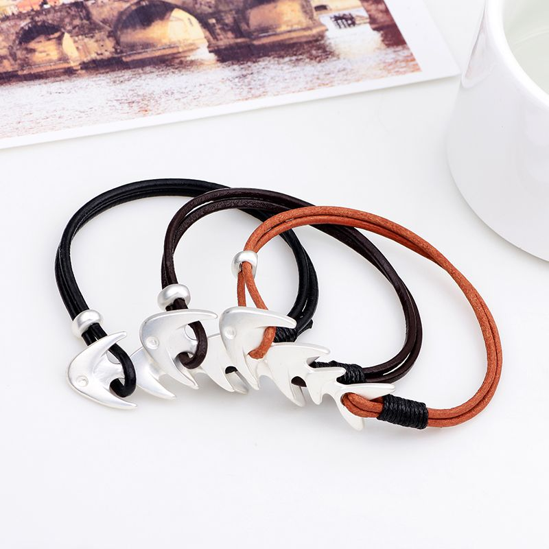 Simple Style Fashion Fishbone Bracelet Alloy Double-Deck