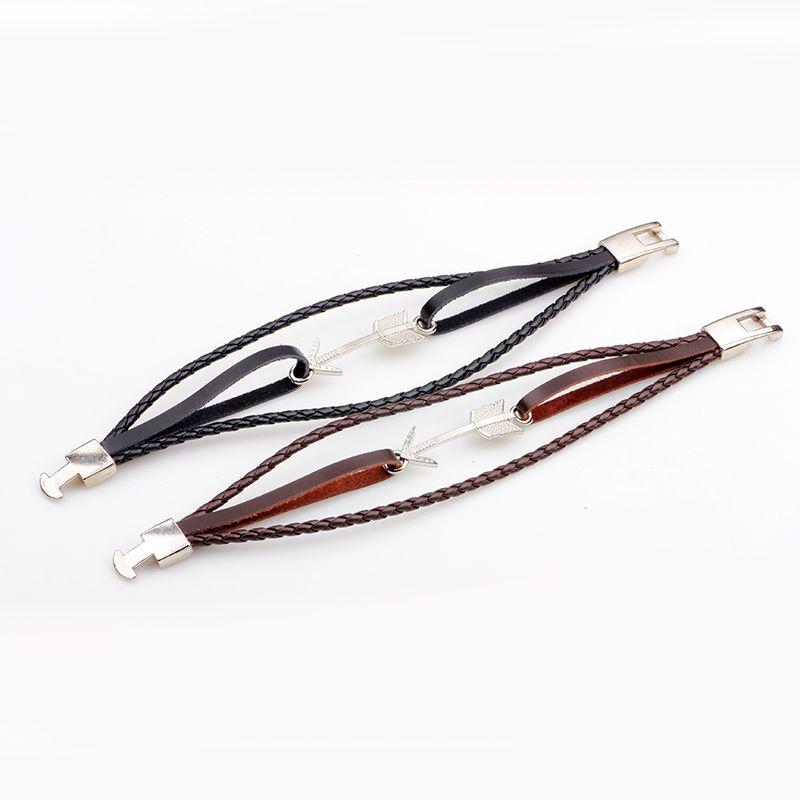 Alloy Arrows Hand Woven Leather Bracelet