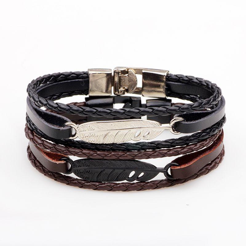 Alloy Feather Bracelet Punk Cowhide Hand-Woven Couple Bracelet