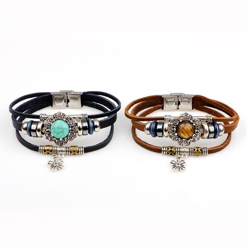 Four Leaf Clover Agio Leather Bracelet with Alloy