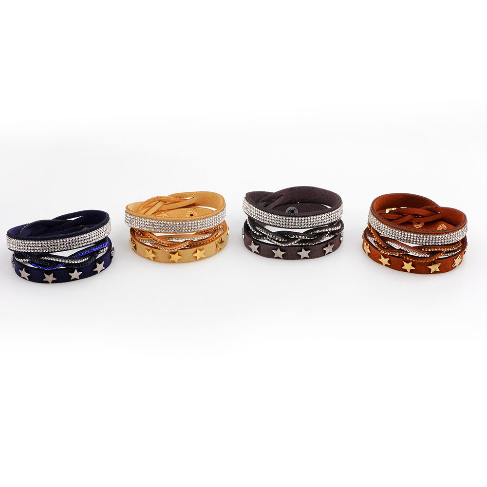 Multi-Layered Leather Long Bracelet with Diamond