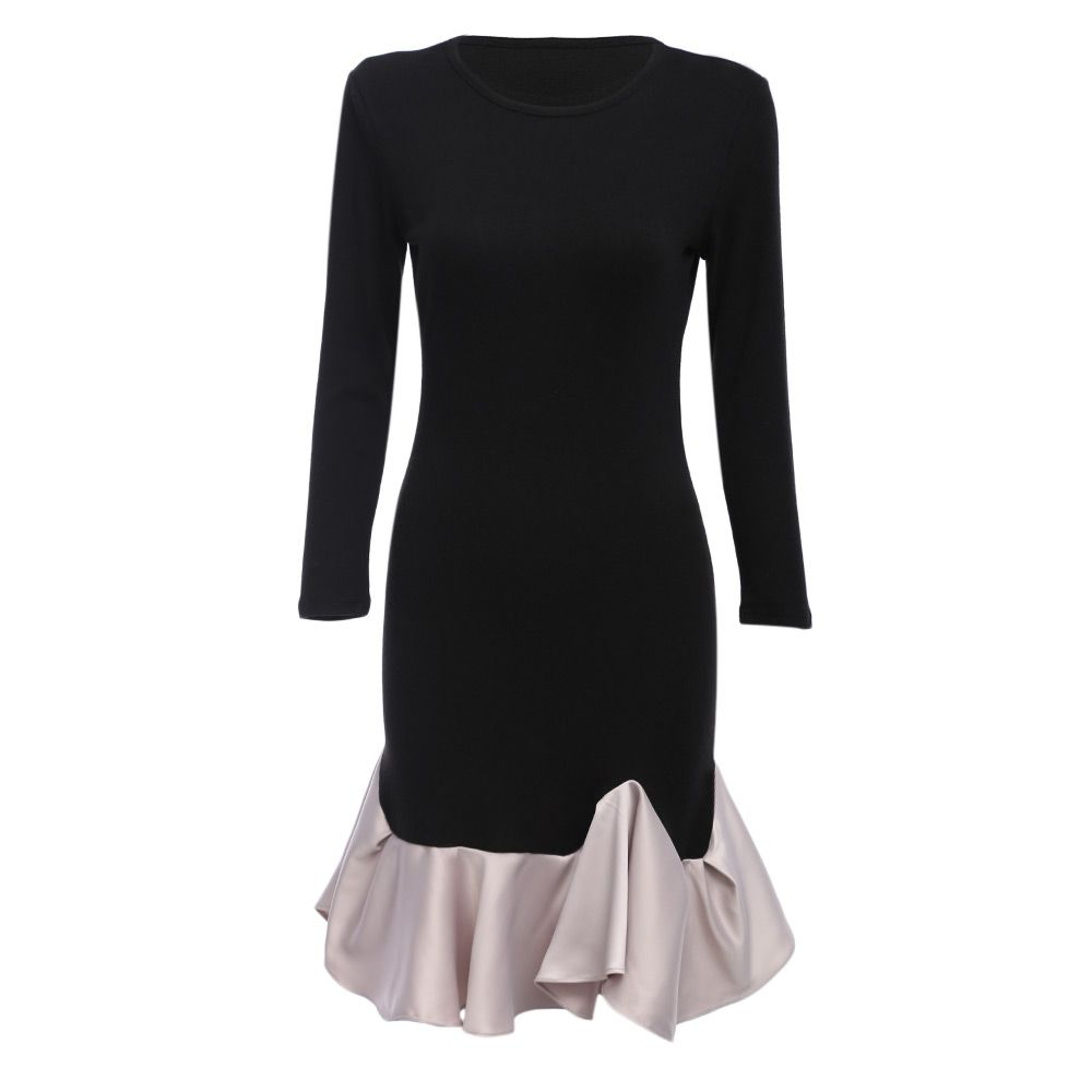 Elegant Black Long Sleeve Cotton Patchwork Cascading Ruffle Sheath Casual Party Bodycon Mini Dress Vestidos