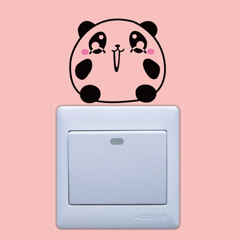 DSU Pink and Black Bear Surprise Expression Switch Sticker Wall Decor