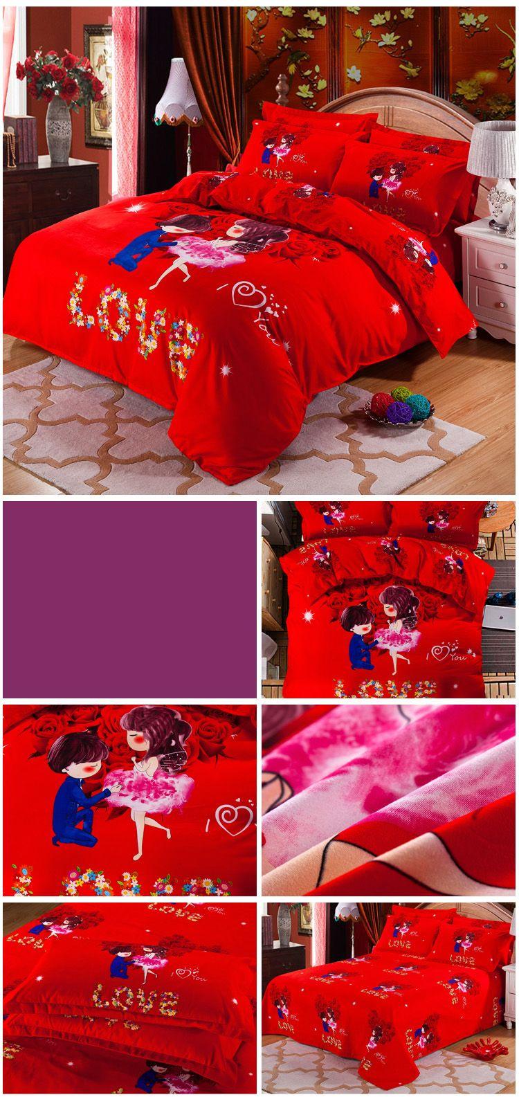 Autumn Loving life Pattern Bedding article Four piece suit
