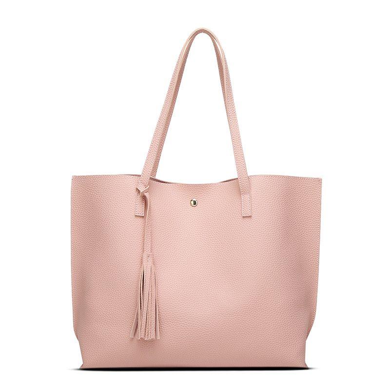 Female Bag 2017 New Korean Edition Simple Tote Bag Multi-purpose Shoulder Bag Cross-bag Tassel Handbag