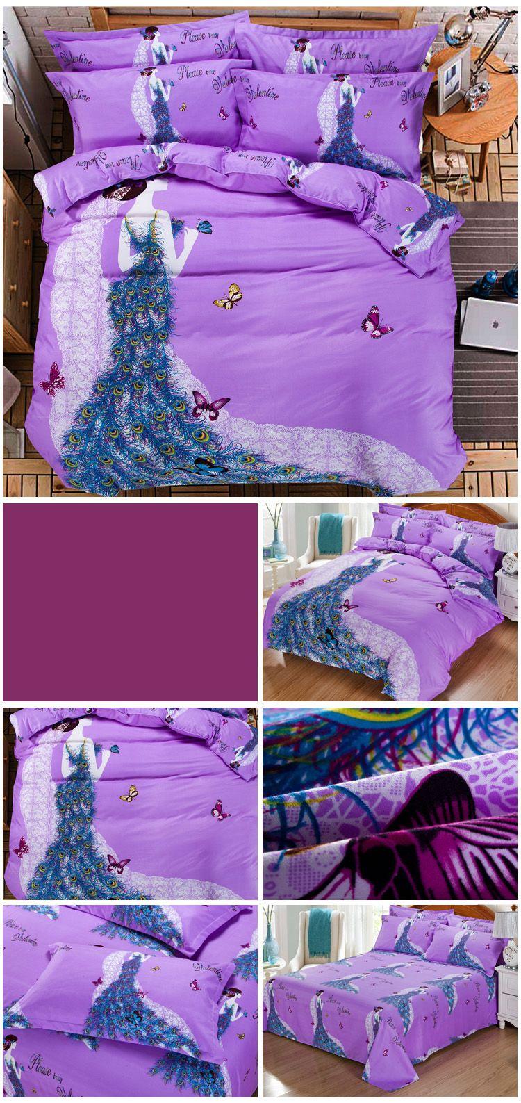 Autumn Art Violet  Pattern Bedding article Four piece suit