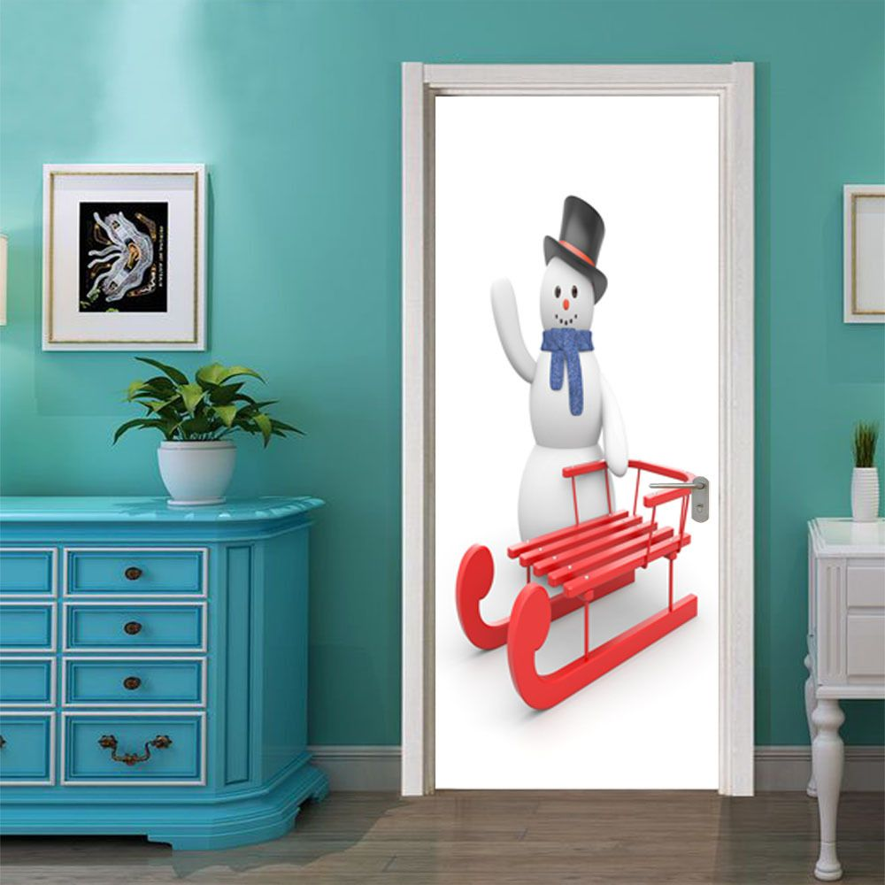 DSU Christmas Snowman and Sleigh Wall Sticker Mural Bedroom Door Poster Home Decor