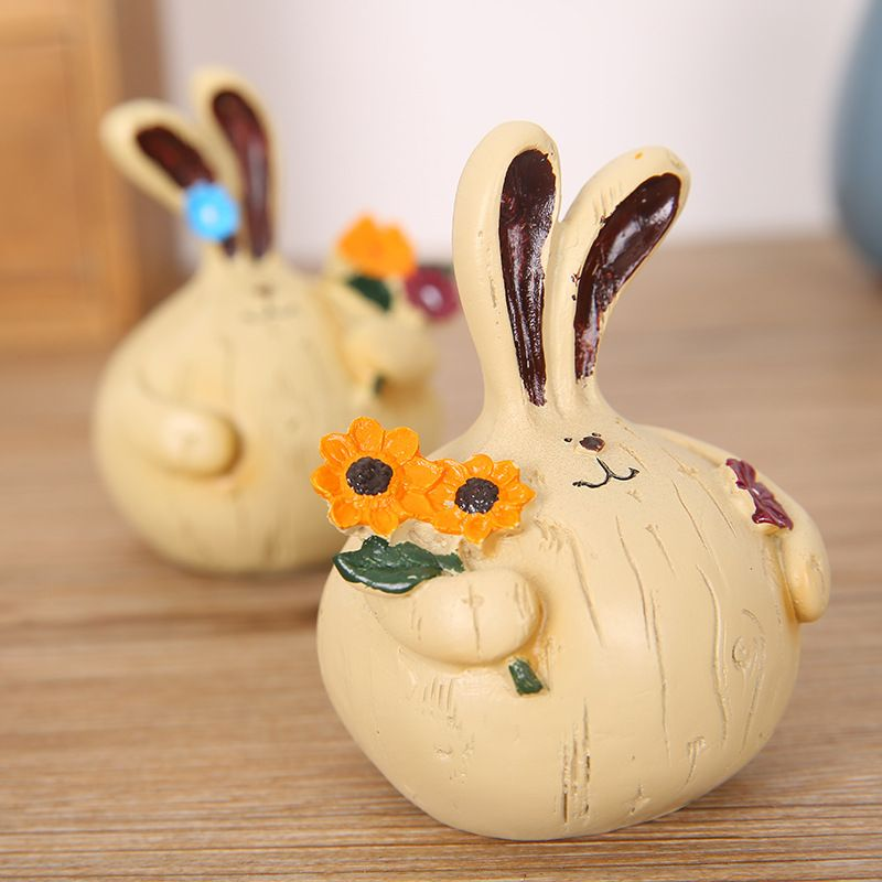 730 2PCS Creative Cute Garlic Fat Rabbit Small Size for Rabbit Resin