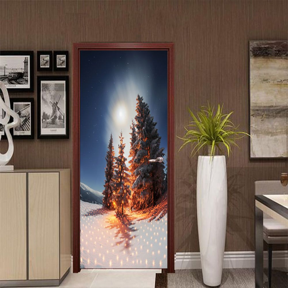 DSU Nighscape of Christmas Tree Wall Sticker Mural Bedroom Door Poster Home Decor