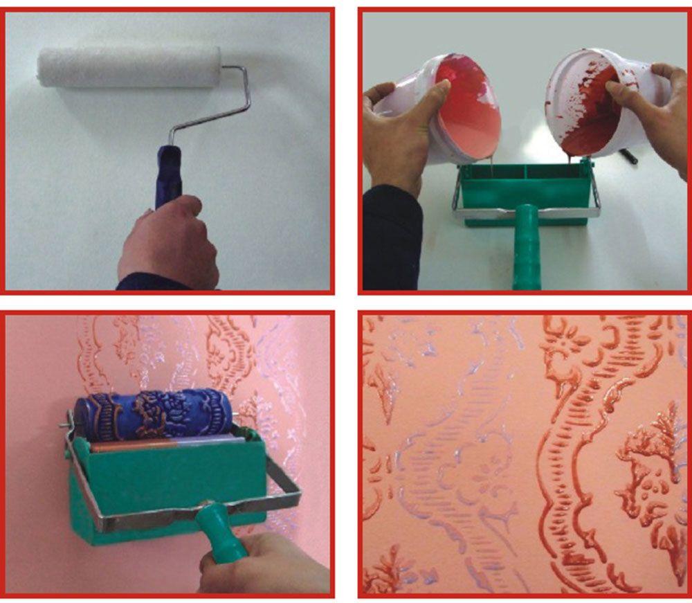 Samrui 5 Inch Roller Rubber Printing Brush Liquid Wallpaper Knurling Mold