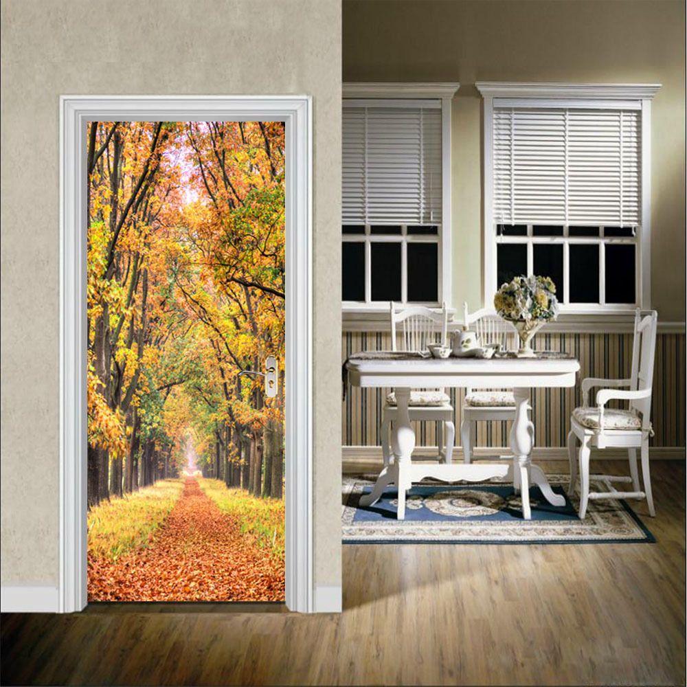 Autumn Leaves Wall Sticker Mural Bedroom Door Poster Home Decor