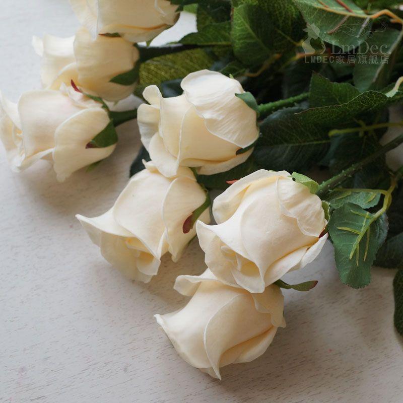 Lmdec FzhPu1701 Decorative Artificial Rose Touch Soft Fake Flower - 1 Head