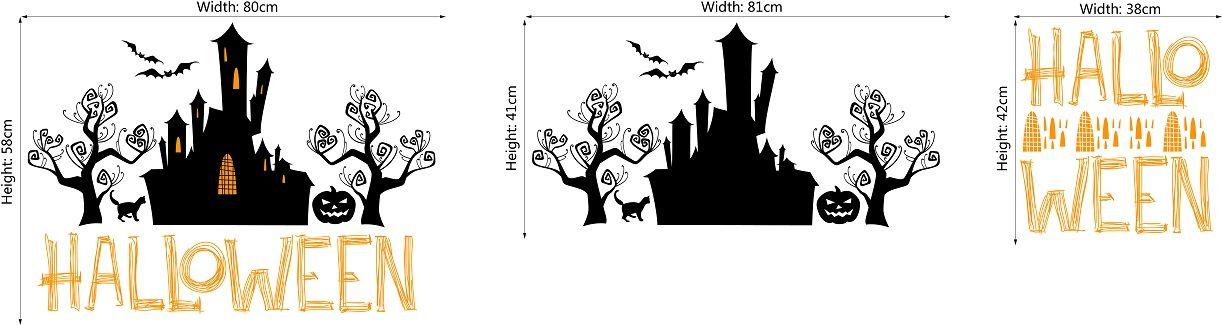 DSU WS0026 Halloween Haunted House Pumpkin Magic Tree  Art Wall Stickers
