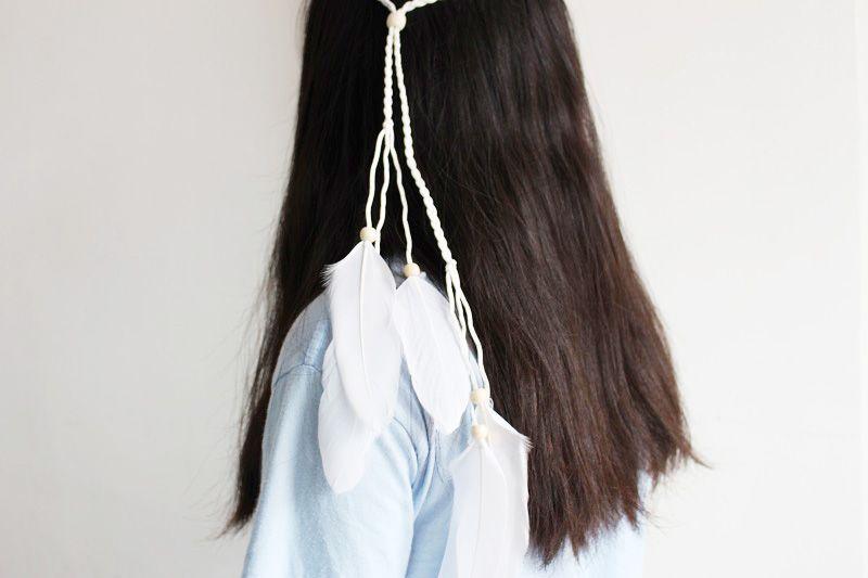 Gypsy Headband Bohemian Bride Headband White Feather Headband