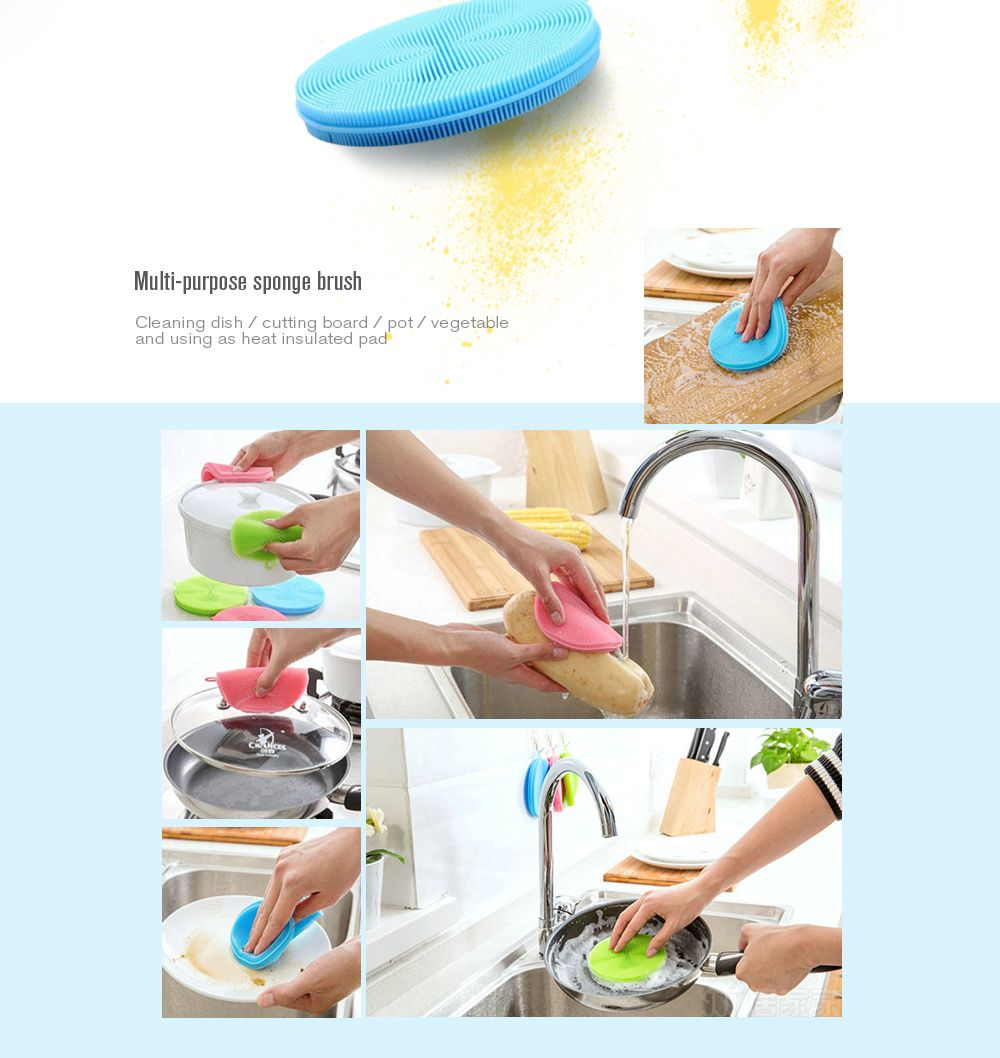 1PC Multi-purpose Vegetables Fruit Silicone Sponge Dish Brush Antibacterial Kitchen Cleaning Pad