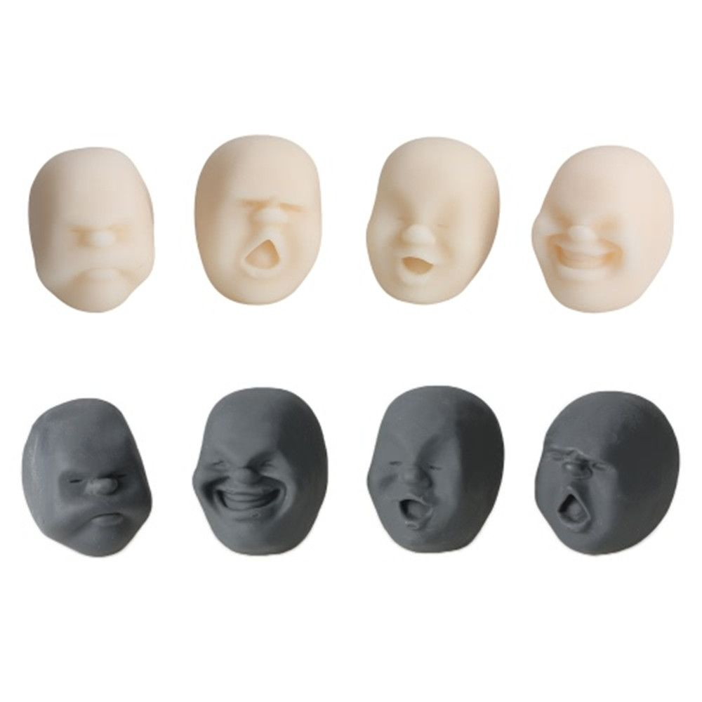 4Pcs Creative Decompression Prop TPR Kneading Clownish Human Face Anti-Stress Vent Ball Relaxation Helper Stress Pressure Reducing Toy