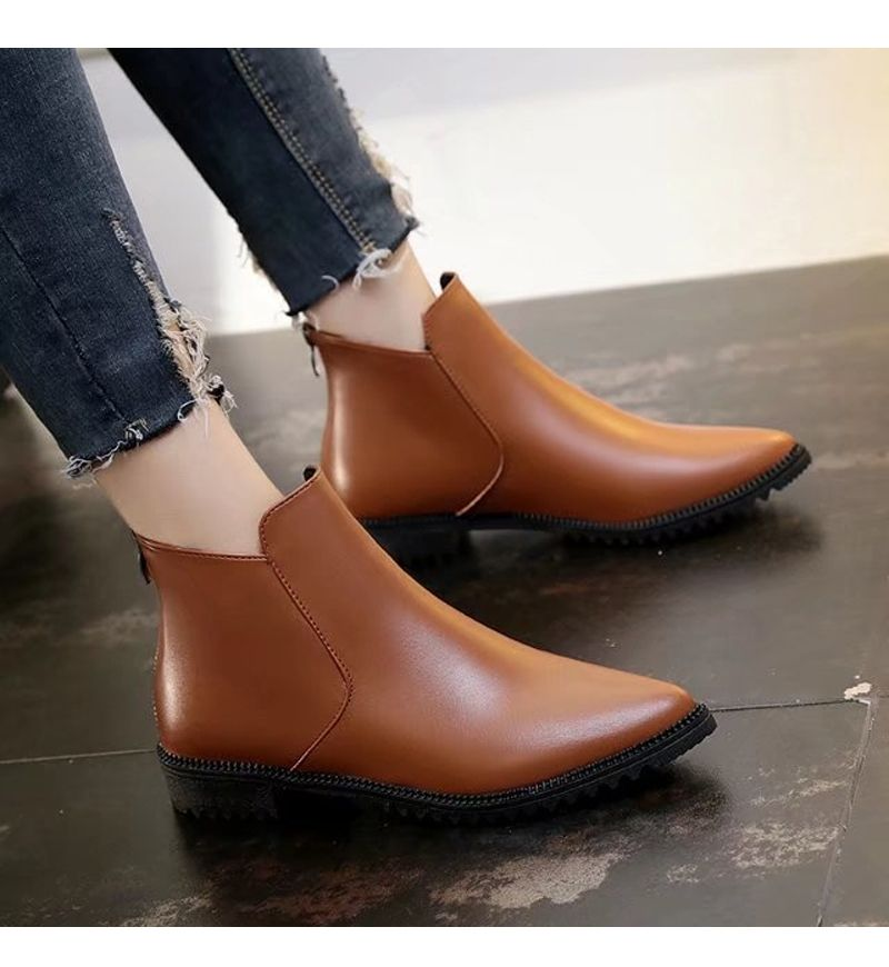 New Winter Low Heel Acumination Martin Women Short Naked Boots