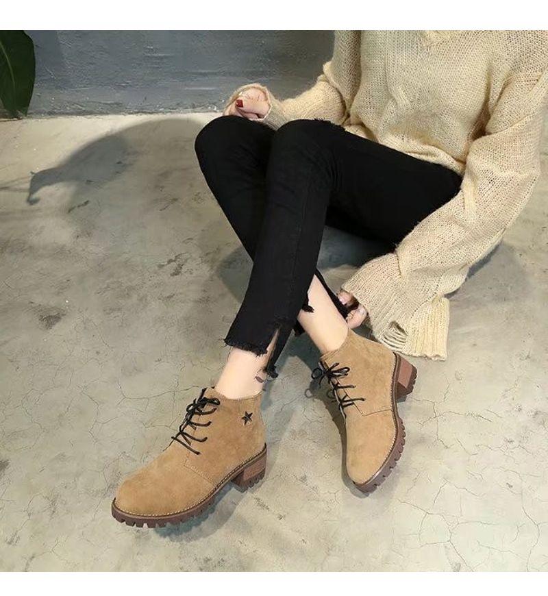 Autumn New Style British Retro Heel Shoes Martin Boots Bare Women