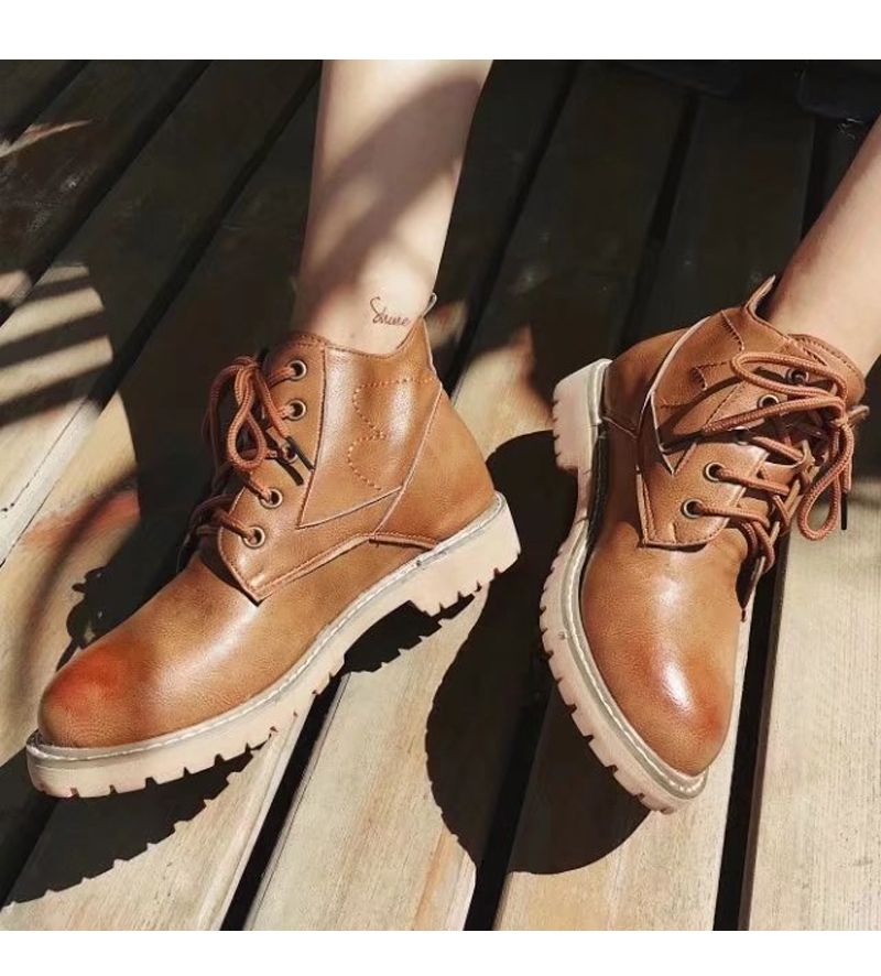 Autumn New Fashion Retro Ball Peen Martin Boots Frenulum Low Heels Women