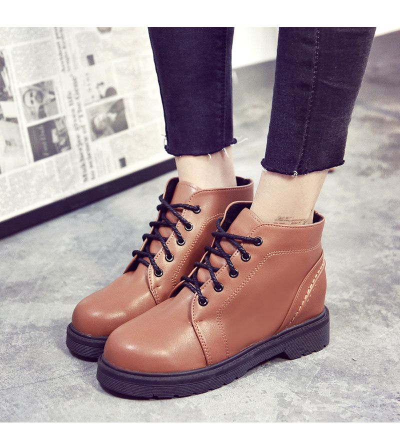 Peret Mori Series Vintage Boots With Thick Martin College Wind Coarse Heel Round Head