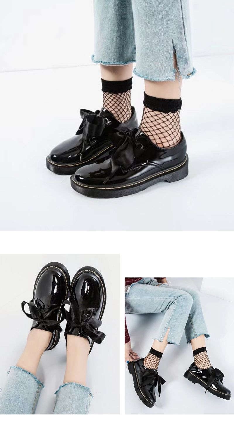 Fraenulum Single Fashion Bow Tie Thick Soles Of Small Leather Women's Shoes