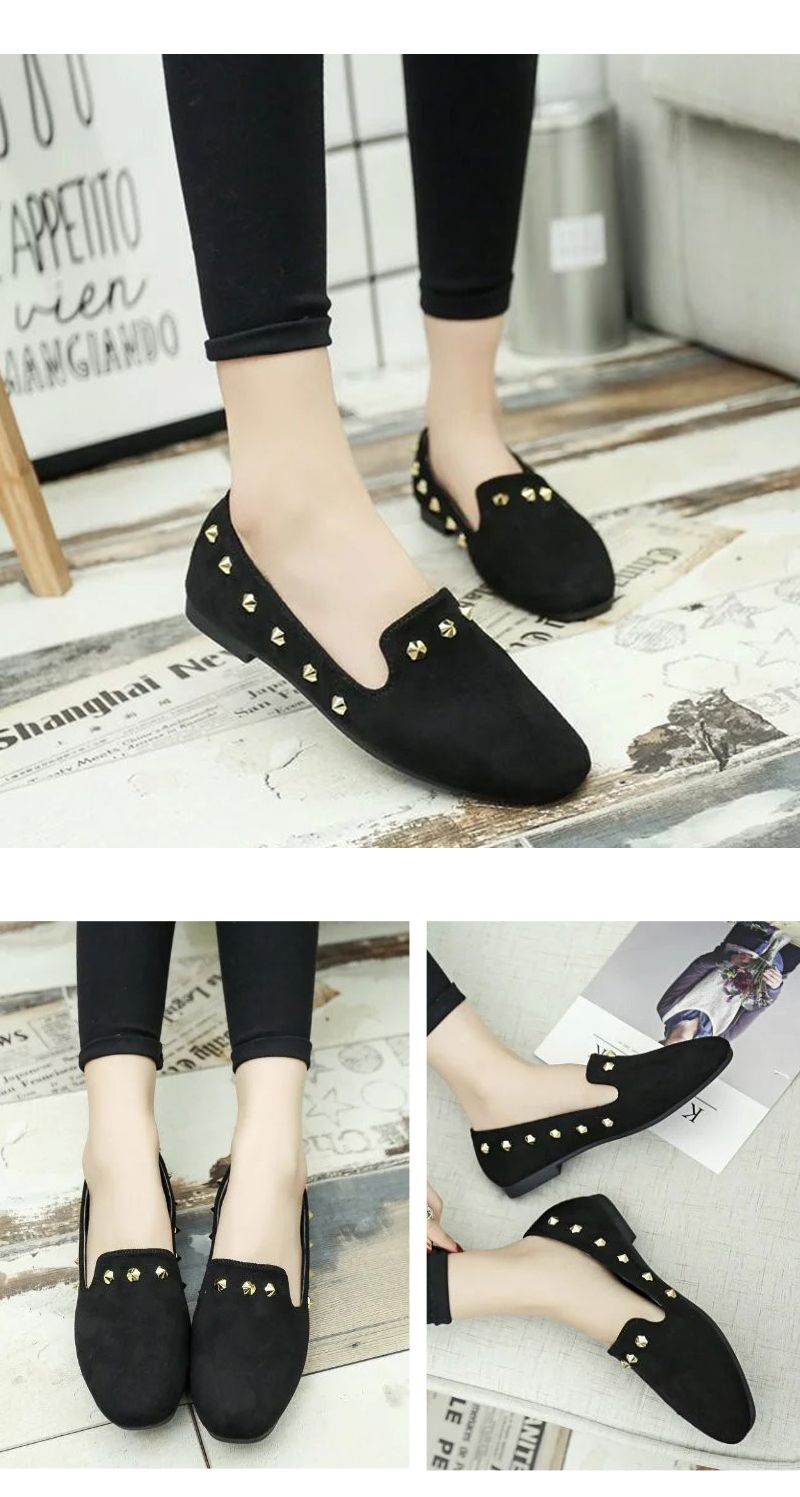 New Style Fashion Rivet Flat Keel Moccasin-Gommino Women Shoe