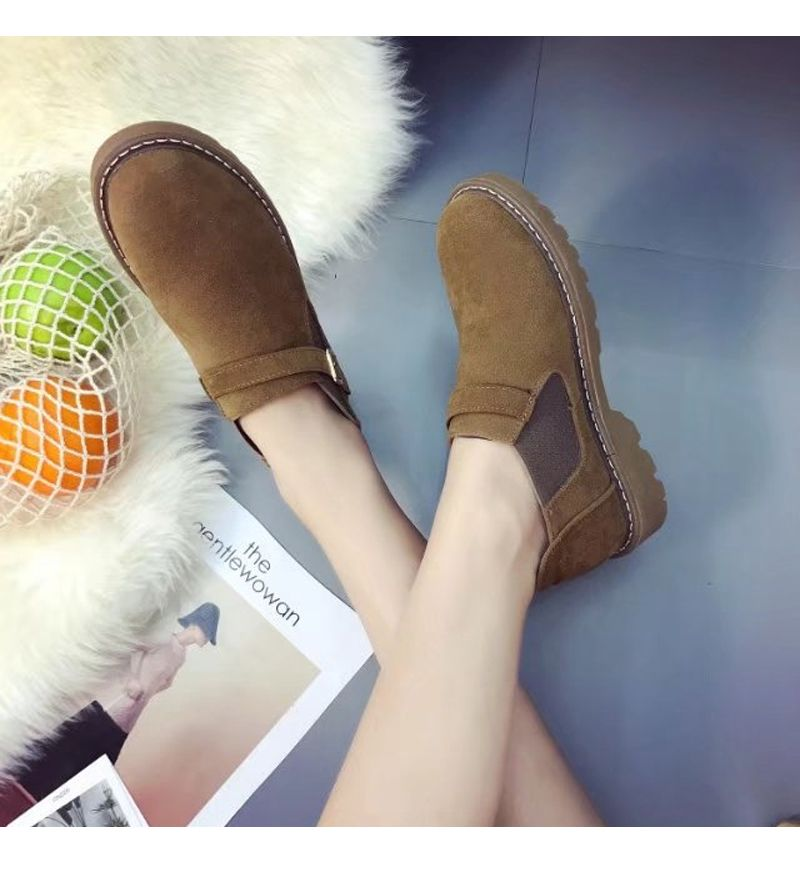 Peret New Style Fashion All-match Thick Round Bottom Short Canister Snow Boots