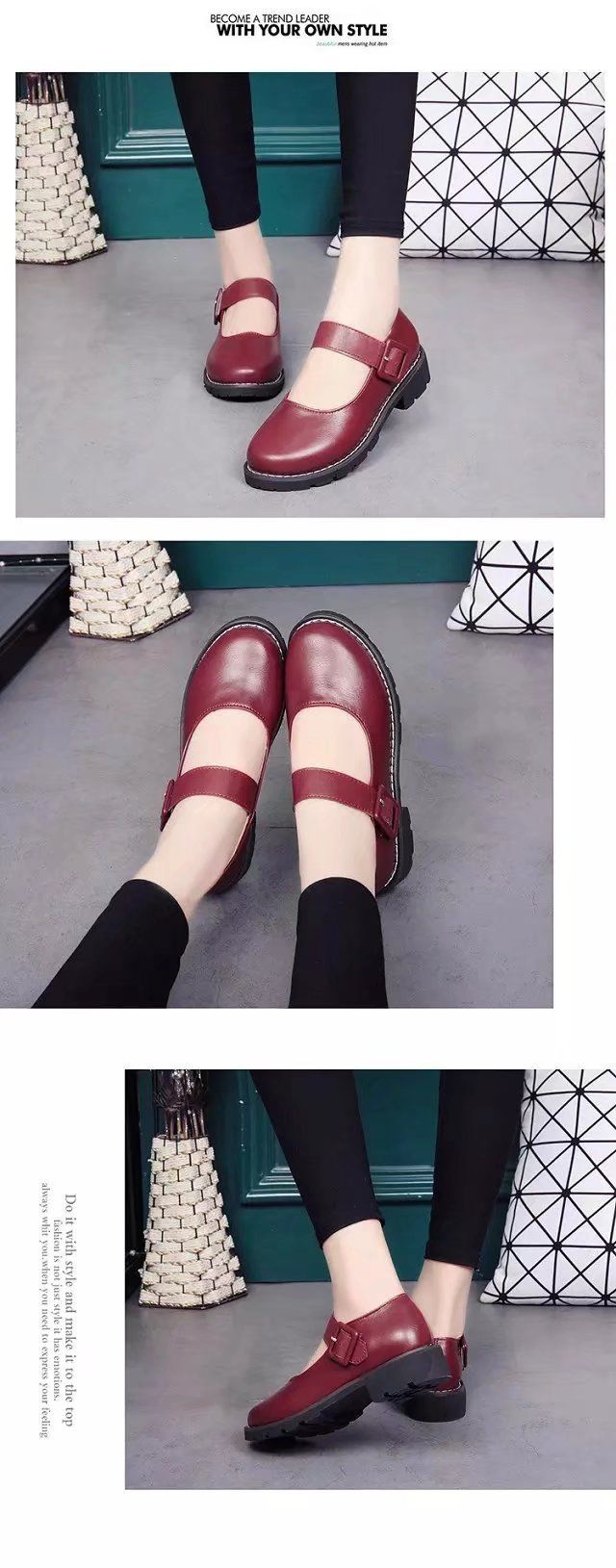 YQ-WA275 Round Low Heel Shallow Mouth Retro Doll Word Buckle Grandma Shoes