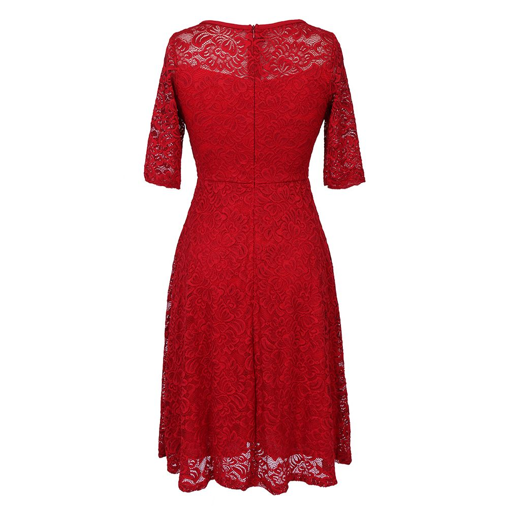 Summer New Style Lace Sheer  Summer Sexy Party Half Sleeve Women A-Line Dress