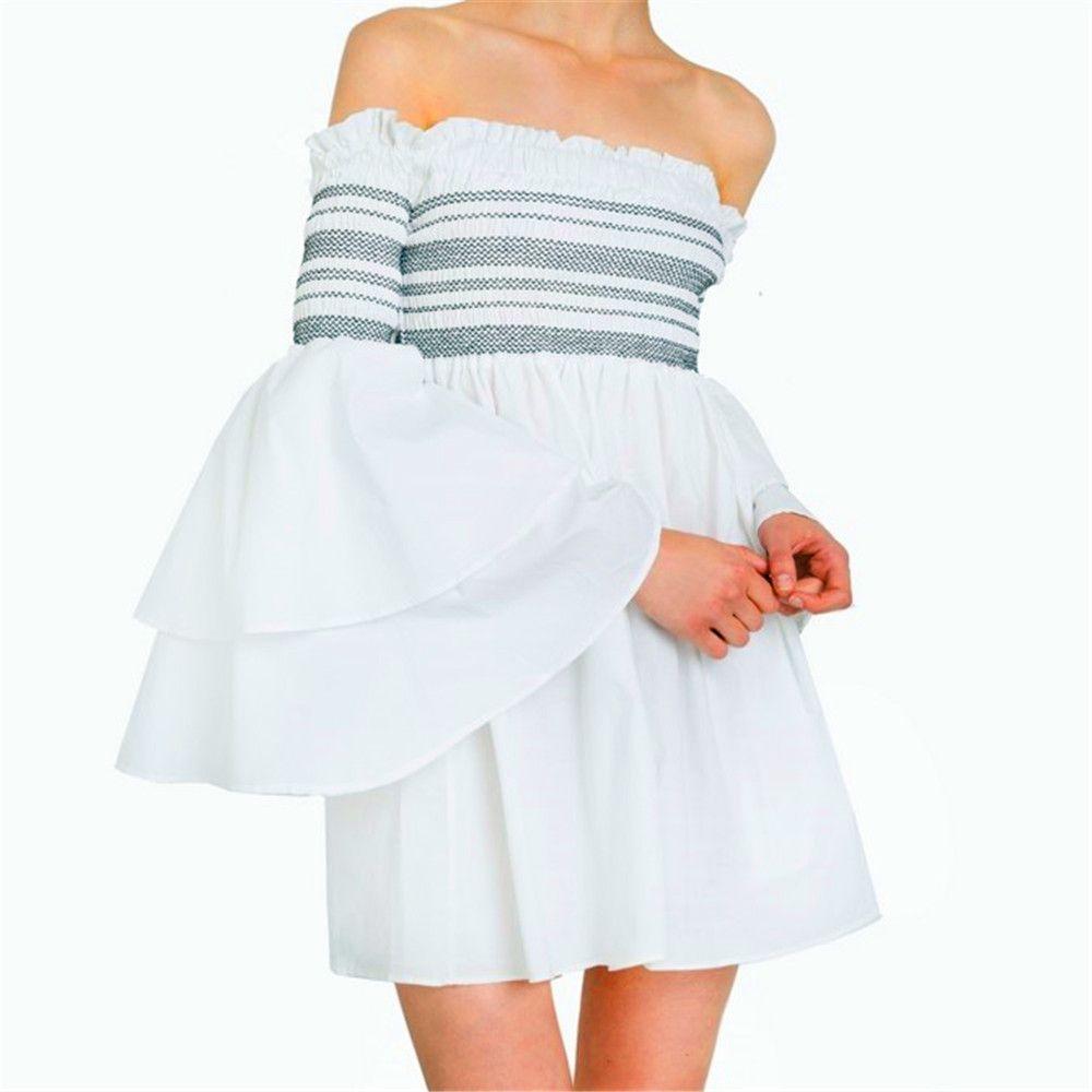 Strapless Collar Flounce Striped Horn Sleeve Dress