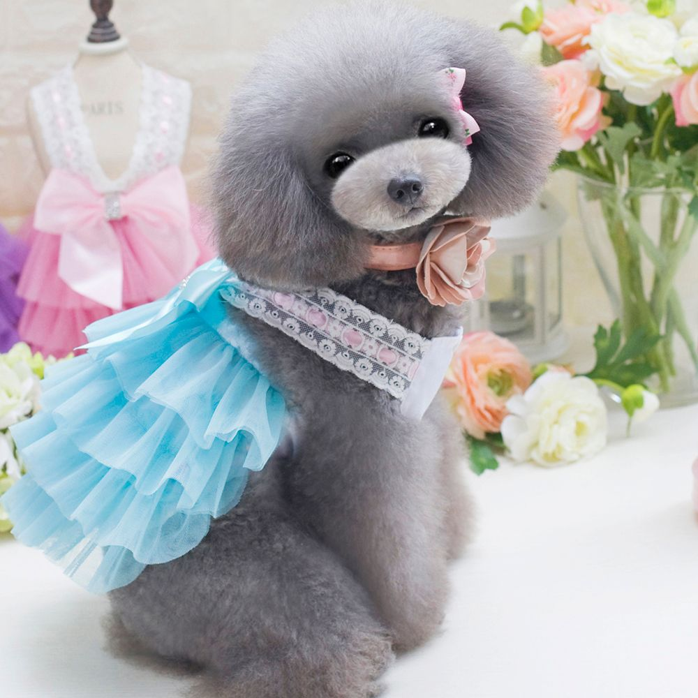 Lovoyager db201719 bow flower adornment pet mesh wedding dresses lovoyager db201719 bow flower adornment pet mesh wedding dresses for dogs ombrellifo Image collections