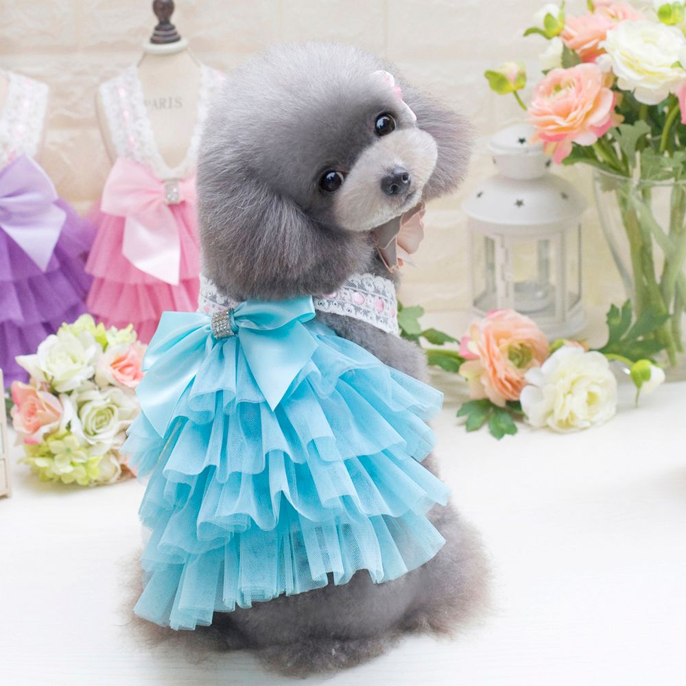 2018 lovoyager db201719 bow flower adornment pet mesh wedding lovoyager db201719 bow flower adornment pet mesh wedding dresses for dogs ombrellifo Image collections