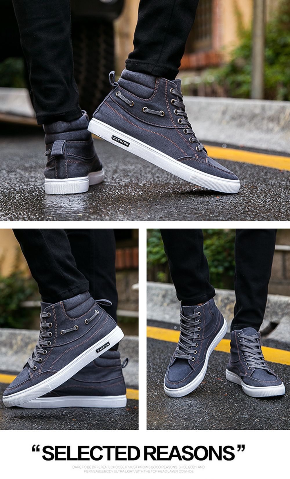 Men's Casual Canvas High Tops Lace Up Fashion Sneakers