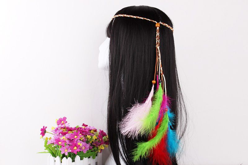 Elegant Feather Headdress Super Fairy Hair Band Colorful Hair Accessories Photo Travel Headdress
