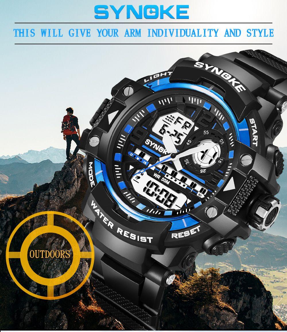 SYNOKE 4735 Outdoor Sports Trendy Waterproof Multifunctional Men Electronic Watch with Box