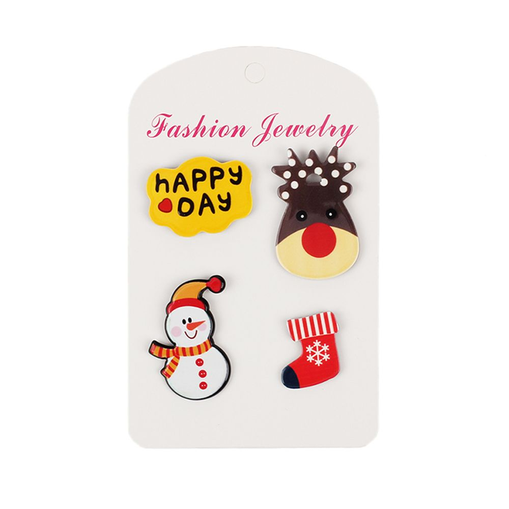 4Pcs Women's Brooches Set Christmas Series Shaped Acrylic Cute Brooch Accessory