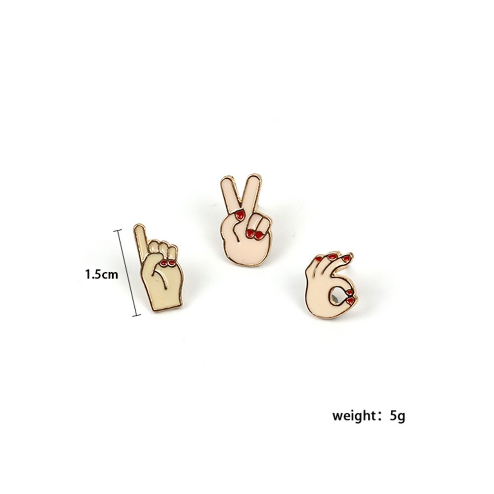 4 pcs Fashionable Finger Cartoon Brooch Combination Lady Jewelry