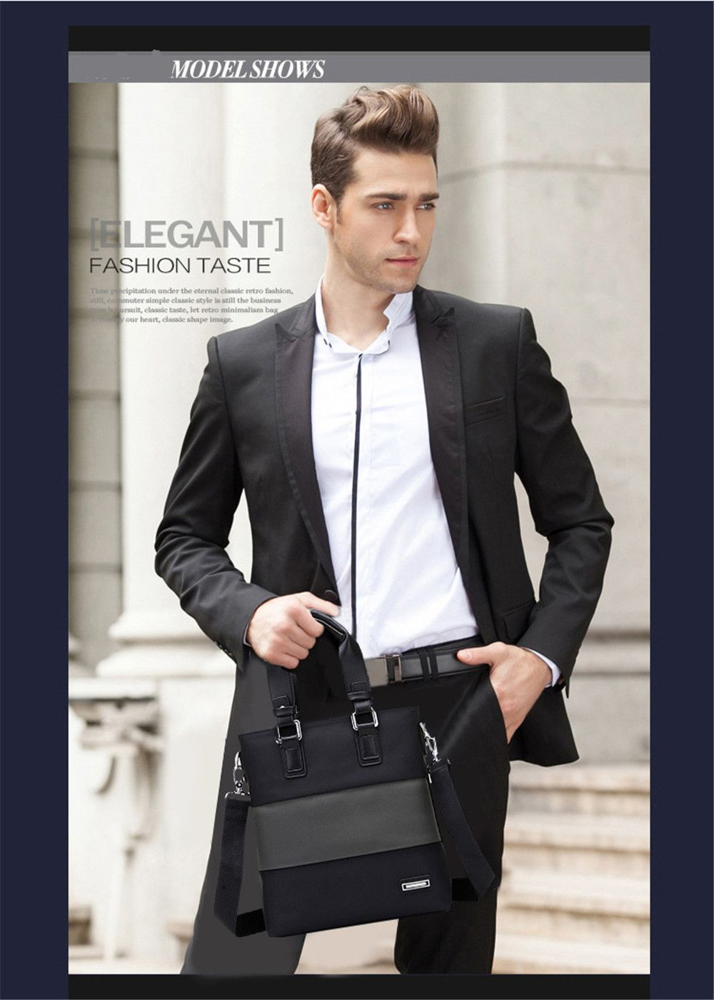 Korean Men's Vertical Portable Briefcase Shoulder Oblique Shoulder Bag 715