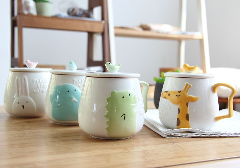 400ML Cartoon Embossed Ceramic Mug