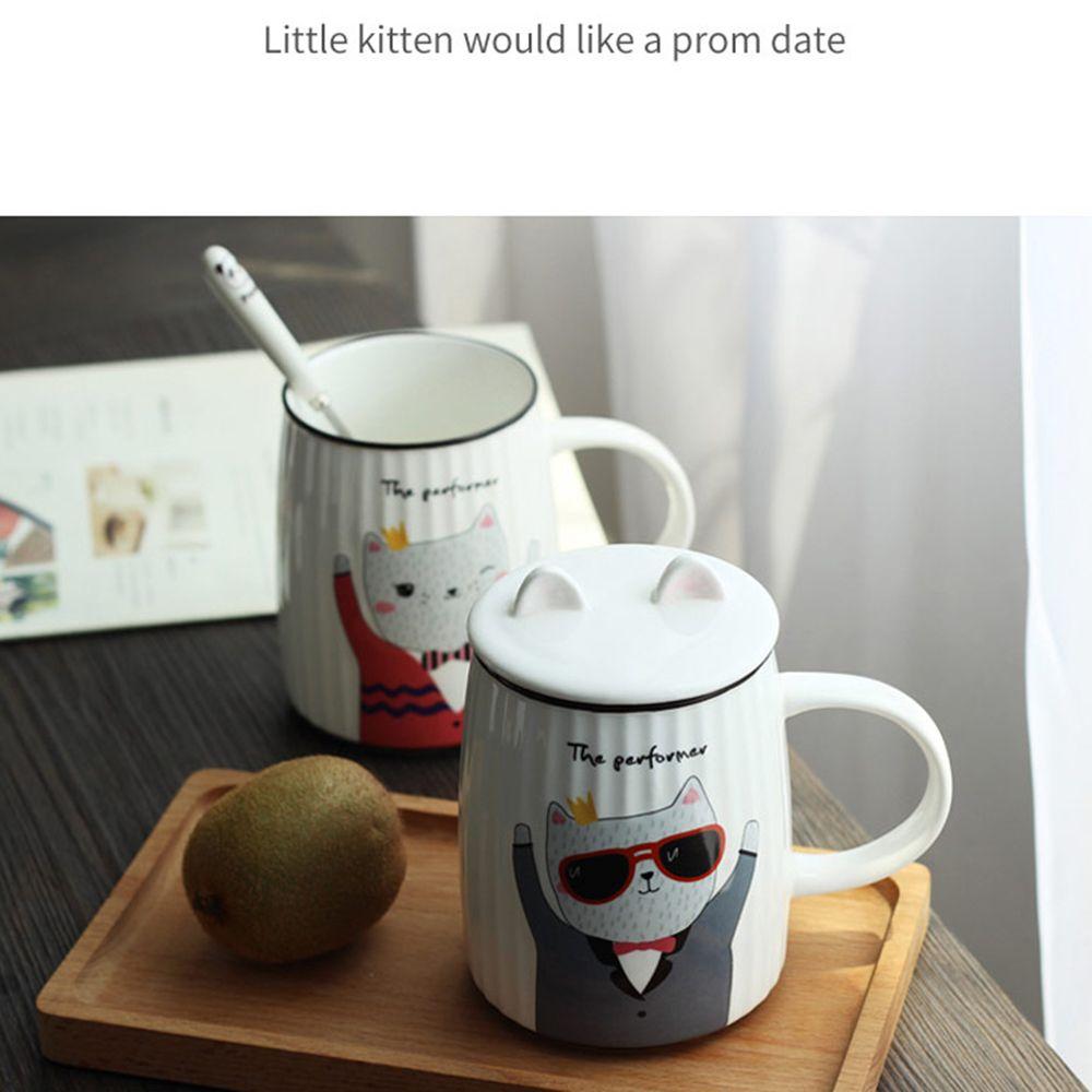 500ML Cartoon Cat Striped Ceramic Cup