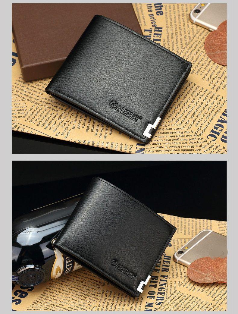 AUGUR 2017 New Brand Short Men Wallets PU Leather Male Purse Card Holder Fashion Zipper Coin Bag