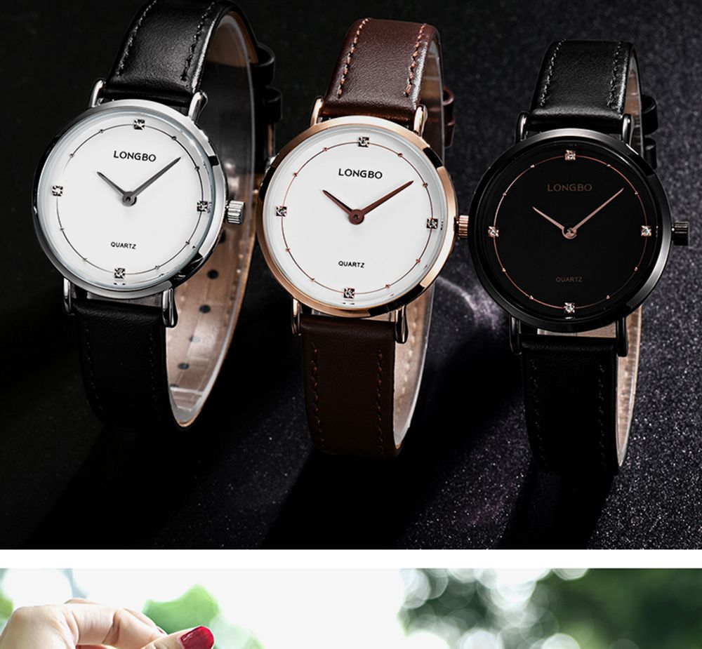 Longbo 5056 All-match Thin Leather Band Couple Watch