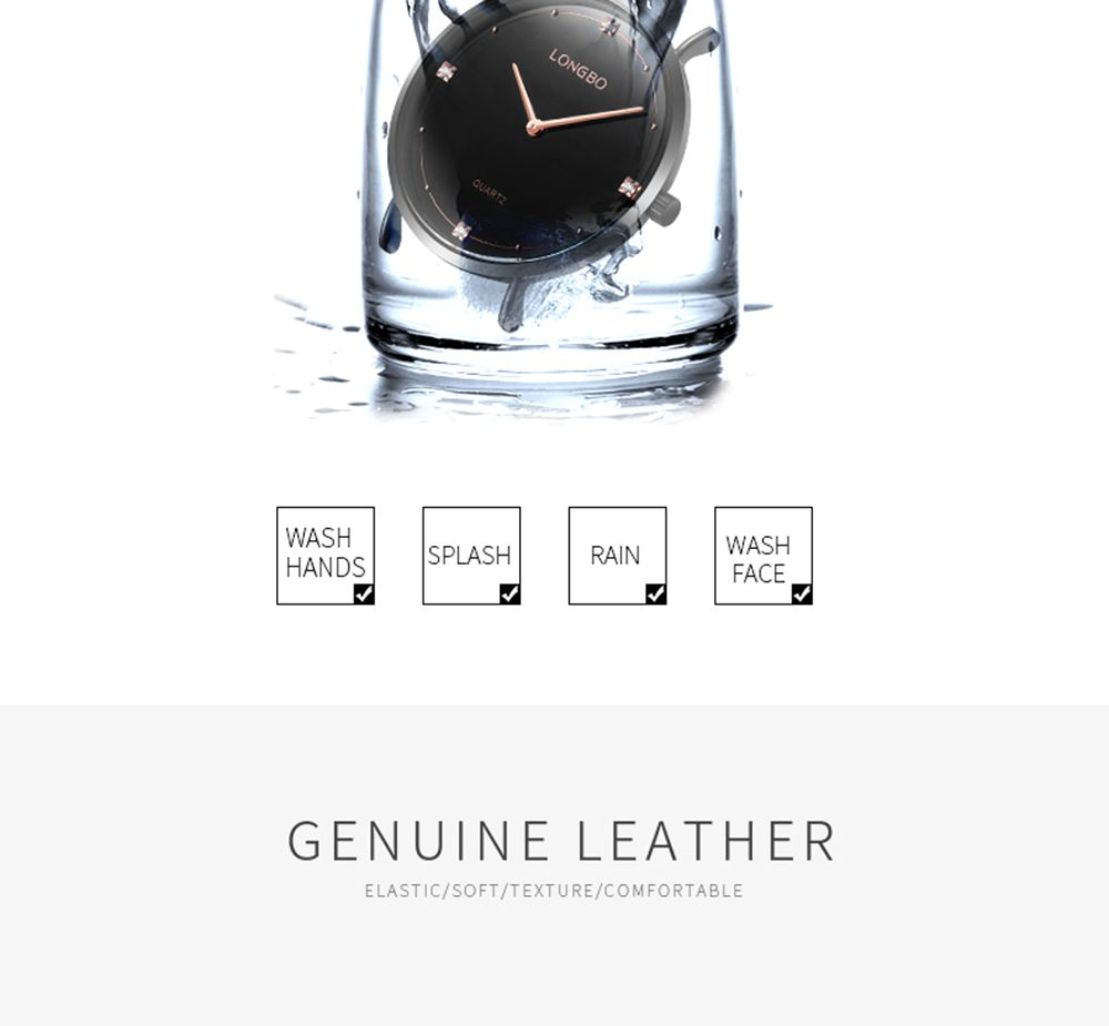 Longbo 5056 All-match Thin Leather Band Couple Watch