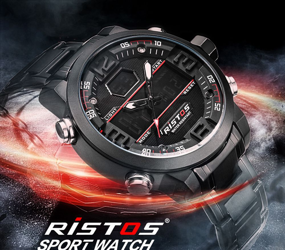 RISTOS 9338 Men Waterproof Steel Band Electronic Watch
