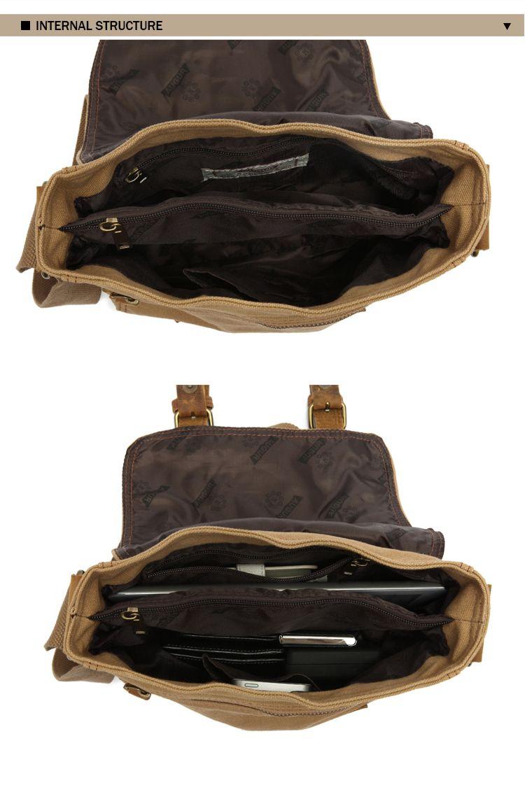 AUGUR 2017 Fashion Men Vintage Canvas Shoulder Travel Satchel Male Crossbody Bags