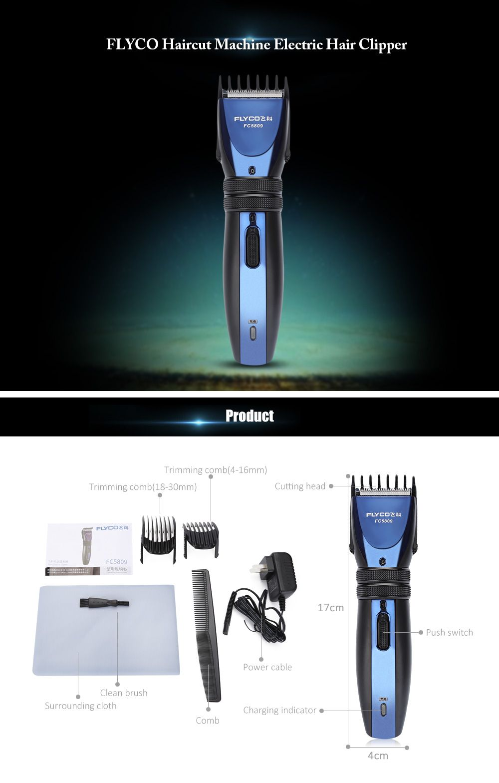 FLYCO FC5809 Charging Plug Electric Hair Clipper 100V - 240V
